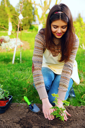 Happy woman planting flowers in the garden photo