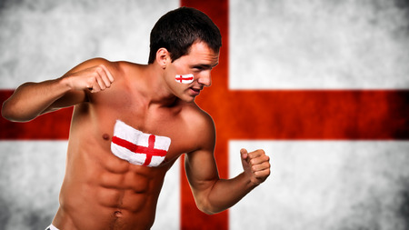 England football fan is ready for fight over england flag background photo