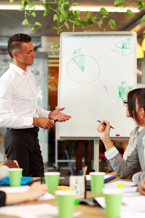 new strategy: Businessman presenting a new strategy to his colleagues Stock Photo