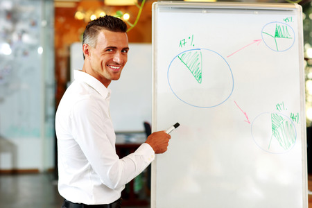 new strategy: Businessman presenting a new strategy
