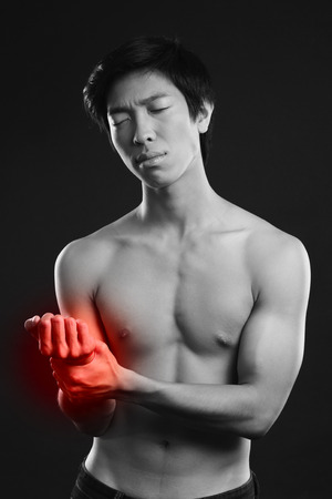 hypertensive: Man checking his pulse by pressing the wrist with fingers