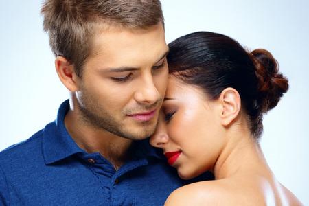 romantic sexy couple: Portrait of a beautiful couple hugging