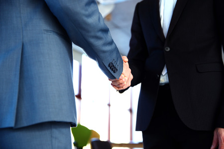 sales team: Closeup portrait of a two businessman handshaking