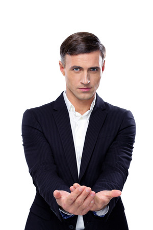 Handsome businessman asking for money on a white background photo