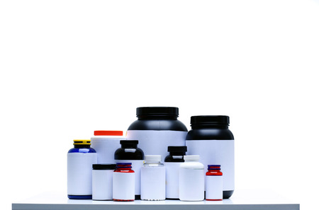 supplement: Sport Nutrition Supplement containers isolated on white Stock Photo
