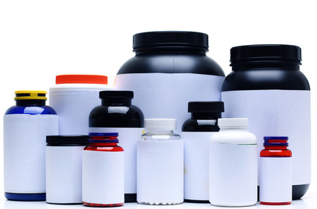 nutrition: Sport Nutrition Supplement containers isolated on white Stock Photo