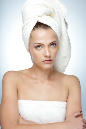 after bath: Portrait of beautiful woman with fresh skin after bath Stock Photo