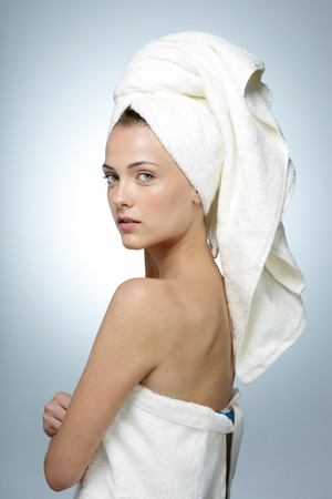 after bath: Portrait of attractive woman with clean face after bath Stock Photo