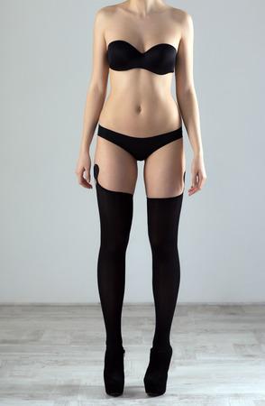 Closeup image of female beautiful body in lingerie