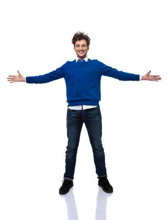 Happy businessman ready to hug you photo
