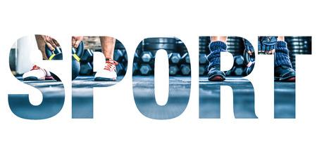 Collage concettuale delle foto sportive in forma di parola sportivo