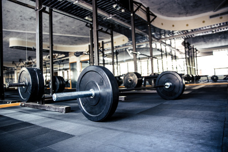 Closeup image of a gym interior with equipment Banco de Imagens