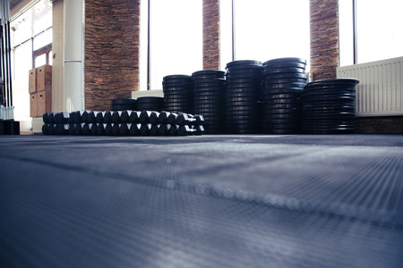 gym floor: Closeup image of a crossfit gym Stock Photo