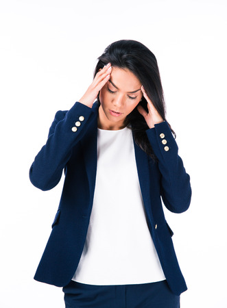 headache: Portrait of a businesswoman with headache isolated on a white background Stock Photo
