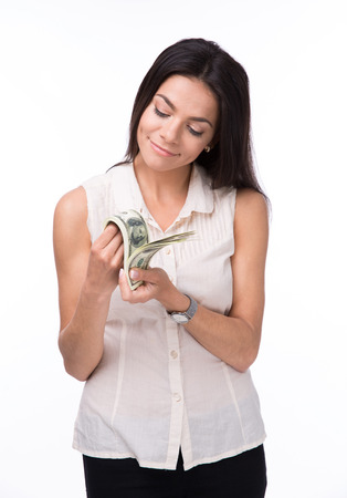 counting money: Happy woman counting money isolated white background