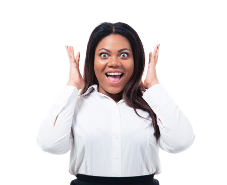 Portrait of surprised african businesswoman isolated on a white background. Looking at camera