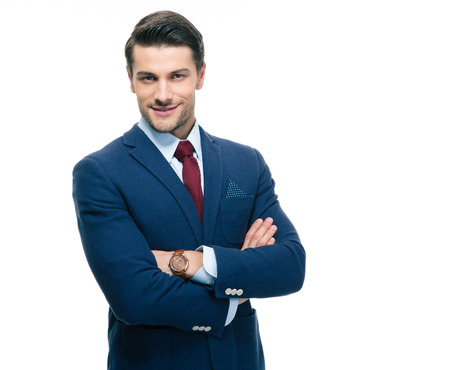 man arm: Happy young confident businessman with arms folded isolated on a white background. Looking at camera