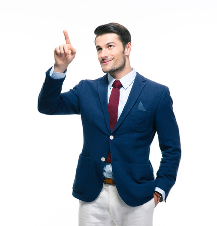 copysapce: Handsome businessman pointing finger up isolated on a white background