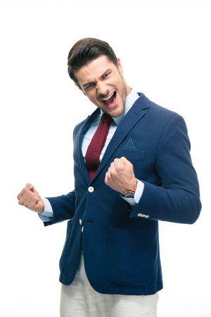 his: Happy businessman celebrating his success isolated on a white background Stock Photo