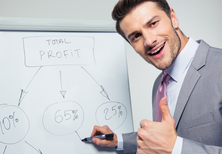 Happy businessman writing on a flipchart and showing thumb up. Looking at camera photo