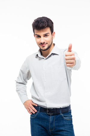isolated sign: Happy casual man showing thumb up isolated on a white background