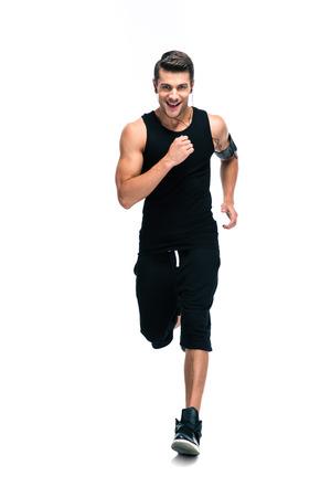 corriendo: Retrato de cuerpo entero de un hombre de fitness funcionamiento aislado sobre un fondo blanco