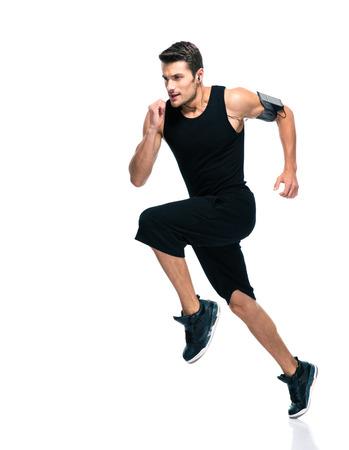 ropa deportiva: Retrato de cuerpo entero de un hombre de fitness funcionamiento aislado sobre un fondo blanco