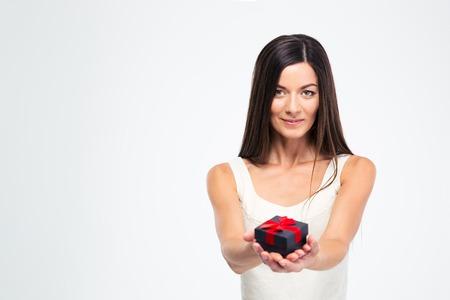 jewerly: Beautiful woman holding jewerly gift box isolated on a white background