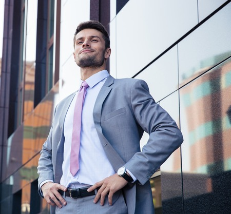 expert: Portrait of a happy confident businessman in suit standing outdoors Stock Photo