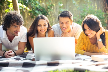 picnicking: Smiling friends using laptop outdoors