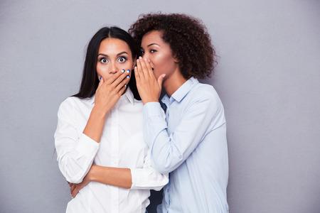 chismes: Retrato de un Dos niñas chismes sobre fondo gris