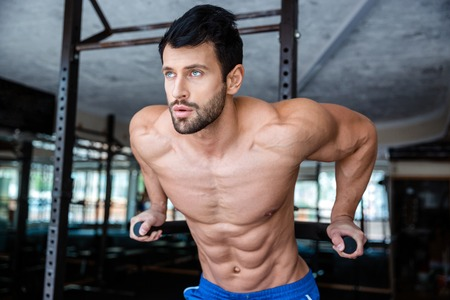 musculation: Portrait of a handsome man doing exercise on parallel bars in fitness gym