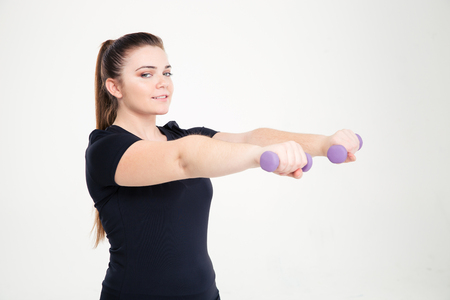 chubby: Portrait of a smiling fat woman workout with dumbbells isolated on a white background