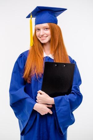 Porträt Nahaufnahme Schön Nachdenklich Diplom Graduierte Studentin ...