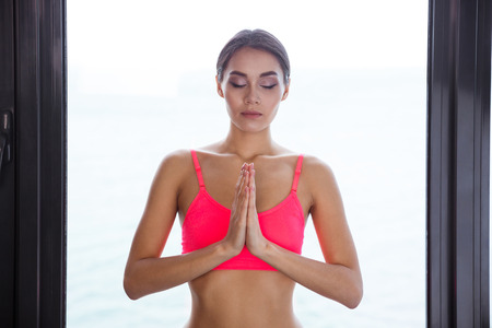 girl bra: Portrait of a beautiful woman meditating
