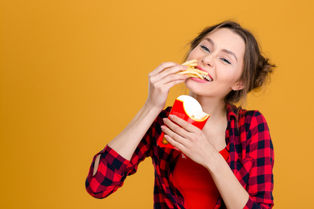 Charming positive young woman in checkered shirt eating fries over yellow background Stock Photo