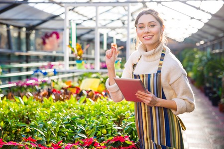smiling woman in a greenhouse: Smiling pretty young woman gardener working in greenhouse and using tablet
