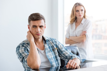 difficulties: Upset man and woman having difficulties and problems in relationships