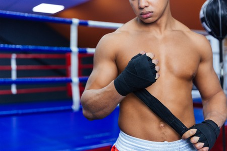 knockdown: Cropped image of a boxer getting ready for fight