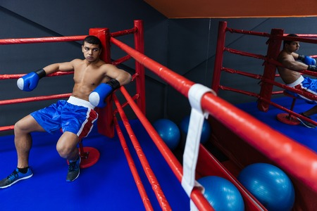Male boxer resting in the corner of the boxing ring Stock Photo
