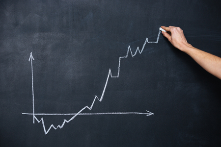 variability: Decreasing and increasing graph drawn by hand on chalkboard background Stock Photo