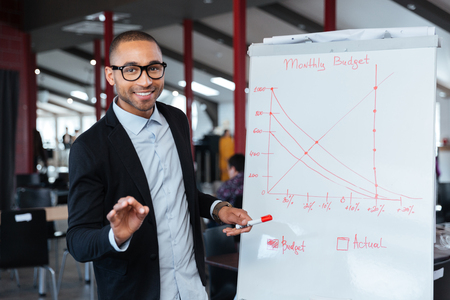 paper board: Smart businessman presenting monthy budget using flipchart