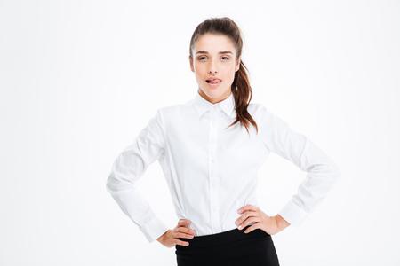 busineswoman: Portrait of confident seductive young busineswoman over white background