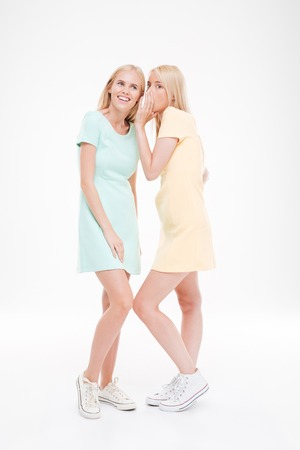 gossiping: Photo of two beautiful girlfriends gossiping. Isolated over white background. Stock Photo