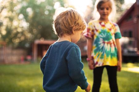 Close up children on playground. girl on blur background