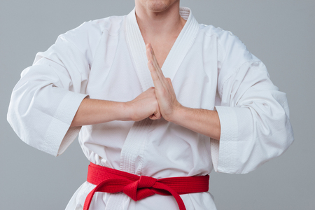 Cropped picture of young sportsman dressed in kimono gesturing with hands isolated over grey background. Stock Photo