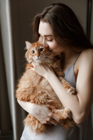 Vertical image of pretty woman in nightie which holding and kissing cat Banco de Imagens