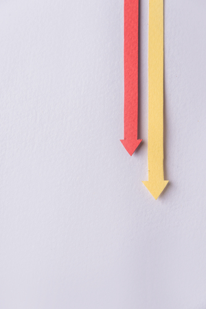 Image of business graphics arrows isolated over grey background.