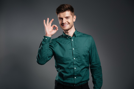alright: Image of happy man dressed in shirt posing over grey background. Looking at camera showing okay gesture.