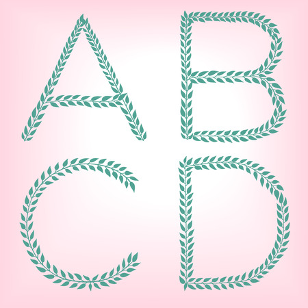 A, B, C,D. Vector green alphabet set of eco letters logo with leaves Illustration